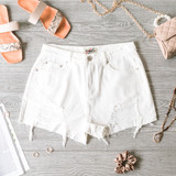 -White -Distressed -Pockets -Zipper -Button -Belt Loops -Unlined -Raw Hem -Shorts  Model is Wearing Size Small  Material: 98% Cotton 2% Polyester  DBS0343 SHORT WHT