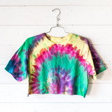 """-Multicolor -Spiral Tie-Dye -Crew Neck -Short Sleeve -Cropped -T-Shirt  Size XXL  Material: 100% Cotton  Clothing Measurements: Bust: 19"""" Length: 15.5"""" Sleeve Length: 7.5"""""""