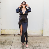 -Black -Plunging Neck Line -Open Back -Ties in Back -Bishop Sleeve -High Slit -Partially Lined -Maxi -Dress -Fabric Does Not Stretch -Comes in 2 Colors  Model is Wearing Size Medium  Material: Self: 95% Polyester 5% Spandex Lining: 100% Polyester  FL21A892 MAXI BLK