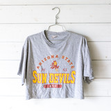 """-Arizona State Sun Devils Graphic -Crew neck -Short Sleeve -Gray -Cropped  Size: Large  Material: 100% Cotton  Clothing Measurements Bust: 21.5"""" Length: 18"""" Sleeve Length: 8.5"""""""