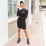 -Black -Angel Rhinestones -Mock Neck -Long Sleeve -Ribbed -Mini -Dress -Fabric Stretches  Model is Wearing Size Small  Material: 68% Rayon 23% Polyester 9% Spandex  D2764 DRESS ANGEL