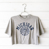 """-University of Michigan graphic -Crew neck -Short Sleeve -Gray -Cropped  Size: Large  Material: 50% Cotton / 50% Polyester  Clothing Measurements Bust: 17.5"""" Length: 18"""" Sleeve Length: 8.5"""""""