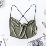 -Olive -Open Back -Criss Cross Back -Bungee Straps -Comes in 5 Colors -Unlined -Crop  Model is Wearing Size Small  Material: 5% Spandex 95% Rayon  TJ515HRS CROP OLV