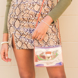 """-Brown -Clear Panel -Gold Clasp -Pocket Inside -This Strap -Cross Body -Bag  7""""x5""""x2.5"""""""