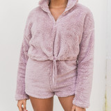 DUSTY MAUVE TEDDY PULLOVER - SET TOP