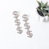 -Silver -Rhinestones -Dollar Sign -Dangle -Earring