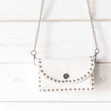 -White -Silver Studs -Chainlink Strap -Removable Strap -Snap Closure