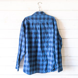 """-Blue -Plaid -Button Up -Front Pockets -Collar -Long Sleeve -Shirt -Thin Jacket  Size Large Tall  Material: 100% Cotton  Clothing Measurements: Bust: 23"""" Length: 30"""" Sleeve Length: 26"""""""