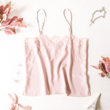 -Nude -Lace Trim -Spaghetti Straps -Adjustable Straps -Unlined -Tank -Comes in 3 Colors  Model is Wearing Size Small  Material: 98% Polyester 2% Spandex  41438A TANK NUD