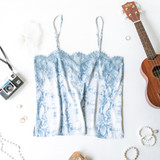 -Soft Blue -Snake Print -Lace Trim -Spaghetti Straps -Adjustable Straps -Unlined -Tank -Comes in 2 Colors  Model is Wearing Size Small  Material: 98% Polyester 2% Spandex  41926A TANK SNKW