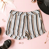 -White -Black and Tan Stripes -Button -Hook and Eye -Zipper -Belt Loops -Cuffed -Unlined -Shorts  Model is Wearing Size Small  Material: 100% Polyester  PS9095 SHORT STPS