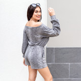 -White and black tie dye -Elastic tie waistband -Fabric stretches -Short sleeve -Short pockets -Lined -Romper  Model is Wearing Size Small  Material:  Self: 96% Polyester 4% Spandex Lining: 100% Polyester   KM3684 ROMP TYDY