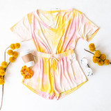 -Pink and Yellow tie-dye -Short sleeve -V neck -Cropped -Set -Top  Model is Wearing Size Small  Material: 96% Rayon 4% Spandex  GT4182 TEE PTD