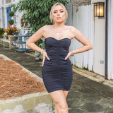 -Black -Strapless -Ruched -Cinching -Fabric Stretches -Comes in 2 Colors -Unlined -Mini -Dress  Model is Wearing Size Small  Material: 85% Polyester 15% Spandex  DZ20H464 DRESS BLK