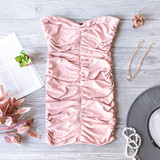 -Pink -Strapless -Ruched -Cinching -Fabric Stretches -Comes in 4 Colors -Unlined -Mini -Dress  Model is Wearing Size Small  Material: 85% Polyester 15% Spandex  DZ20H464 DRESS PNK
