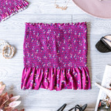 -Mulberry -Floral Print -Smocked -Ruffle -Unlined -Fabric Stretches -Skirt -Set  Model is Wearing Size Small  Material: 4% Spandex 96% Polyester  084 SET SKIRT PFLR