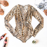-Leopard Print -Deep V-Neck -Long Sleeve -Silver Stitching -Shimmers -Snap Closure -Unlined -Bodysuit  Model is Wearing Size Small  Materia: 57% Polyester | 40% Lurex | 3% Spandex   T5732 BSUIT CHT