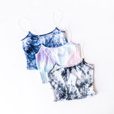 -Black -Tie-Dye -Ribbed -Bungee Straps -Crop -Tank -Fabric Stretches -Unlined -Comes in 3 Colors  Model is Wearing Size Small  Material: 93% Rayon | 7% Spandex  T8503I CROP BLKTD