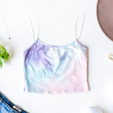 -Pastel -Tie-Dye -Ribbed -Bungee Straps -Crop -Tank -Fabric Stretches -Unlined -Comes in 3 Colors  Model is Wearing Size Small  Material: 93% Rayon | 7% Spandex  T8503I CROP PRPTD
