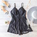 -Black -Embroidered Lace -Padded Cups -Ajustable Straps -Spaghetti Straps -Partially Lined -Mesh -Romper  Model is Wearing Size Medium  Material: Shell 1: 70% Cotton   30% Nylon Shell 2: 100% Polyester  HMP30805 ROMP BLK