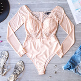 -Blush -Lace -Padded Cups -Zipper -Mesh Sleeves -Long Sleeves -Snap Closure -Partially Lined -Fabric Stretches -Comes in 4 Colors -Cheeky -Bodysuit  Model is Wearing Size Small  Material: Shell 1: 90% Polyester | 10% Spandex Shell 2: 94% Polyester | 6% Spandex  HMT53748 BSUIT TANL