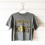 """-Charcoal -Crew Neck -Long Live the King Graphic -Short Sleeve -Cropped -T-Shirt  Size Medium  Material: 100% Cotton  Clothing Measurements: Bust: 19' Length: 20"""" Sleeve Length: 7"""""""