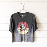 """-Ombre Gray -Crew Neck -Seminoles Graphic -Short Sleeve -Cropped -T-Shirt  Size Medium  Material: 65% Polyester 