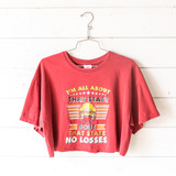 """-Garnet -Crew Neck -Bout That State Graphic -Short Sleeve -Cropped -T-Shirt  Size Large  Material: 100% Cotton  Clothing Measurements: Bust: 21"""" Length: 17"""" Sleeve Length: 7"""""""