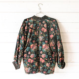 """-Black -Floral Print -Ribbed Stitching -Single Frog Button Closure -Long Sleeve -Puff Sleeve -Lined -Thick -Jacket  Size Small  Material: Unknown  Clothing Measurements: Bust: 21"""" Length: 26"""" Sleeve Length: 18"""""""