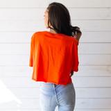 "-Orange -Florida Gators Graphic -Crew Neck -Short Sleeve -Cropped -T-Shirt  Size 2XL  Material: 100% Cotton  Clothing Measurements: Bust: 24"" Length: 18"" Sleeve Length: 10"""