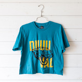 """-Teal -Duuuval Graphic -Crew Neck -Short Sleeve -Cropped -T-Shirt  Size Medium  Material: 100% Cotton  Clothing Measurements: Bust: 20"""" Length: 21"""" Sleeve Length: 8"""""""