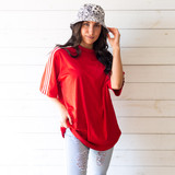 """-Red -White Stripes -Crew Neck -Full Length -Jersey  Size X-Large  Material: Unknown  Clothing Measurements: Bust: 31"""" Length: 24"""" Sleeve Length: 11"""""""
