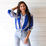 """-Blue -White Stripes -V-Neck -Full Length -Long Sleeve -Jersey  Size Large  Material: 100% Polyester  Clothing Measurements: Bust: 22"""" Length: 28"""" Sleeve Length: 24"""""""