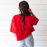 """-Red -Canada Graphic -Crew Neck -Cropped -Short Sleeve -T-Shirt  Size 2XXL  Material: 100% Cotton  Clothing Measurements: Bust: 24"""" Length: 20"""" Sleeve Length: 8"""""""