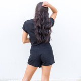 -Black -Mid-Rise -Buttons -Pockets -Zipper -Fabric Does Not Stretch -Comes in 4 Colors -Skort  Model is Wearing Size Small  Material: 86% Cotton | 14% Rayon  CP1907 SKORT BLK
