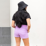 -High-Waist -Pockets -Drawstring -Fabric Does Not Stretch -Unlined -Comes in 7 Colors -Shorts  Model is Wearing a Size Small  Material Content: 100% Cotton  CP1080 SHORT PRP