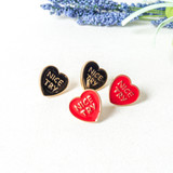 """-Gold -Red -""""Nice Try"""" -Heart -Stud"""