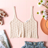-Cream -V-Neck -Open Knit -Unlined -Fabric Stretches -Comes in 3 Colors -Tank  Model is Wearing Size Small  Material: 55% Cotton | 45% Acrylic  DZ21E962 TANK WHT
