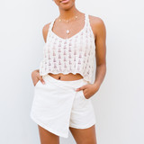 -Cream -V-Neck -Open Knit -Unlined -Fabric Stretches -Comes in 3 Colors -Tank  Model is Wearing Size Small  Material: 55% Cotton   45% Acrylic  DZ21E962 TANK WHT