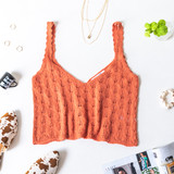 -Terracotta -V-Neck -Open Knit -Unlined -Fabric Stretches -Comes in 3 Colors -Tank  Model is Wearing Size Small  Material: 55% Cotton | 45% Acrylic  DZ21E962 TANK CML