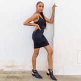 -Black -V-Neck -Front Twist -Bungee Straps -Cinched -Fabric Stretches -Comes in 2 Colors -Unlined -Dress  Model is Wearing Size Small  Material: 85% Polyester   15% Spandex  DZ20H383 DRESS BLK