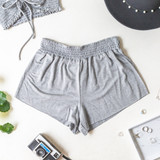 -Gray -Smocked Waist -High Waist -Fabric Stretches -Unlined -Comes in 6 Colors -Set -Shorts  Model is Wearing Size Small  Material: 100% Rayon  PJ701HRS SHORT GRY