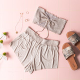 -Sand -Smocked -Fabric Stretches -Unlined -Comes in 6 Colors -Set -Crop  Model is Wearing Size Small  Material: 100% Rayon  TJ565HRS TUBE TAN