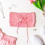 -Pink -Smocked -Fabric Stretches -Unlined -Comes in 6 Colors -Set -Crop  Model is Wearing Size Small  Material: 100% Rayon  TJ565HRS TUBE PNK