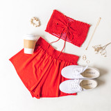 -Red -Smocked -Fabric Stretches -Unlined -Comes in 6 Colors -Set -Crop  Model is Wearing Size Small  Material: 100% Rayon  TJ565HRS TUBE RED