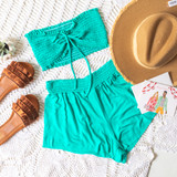 -Aqua -Smocked -Fabric Stretches -Unlined -Comes in 6 Colors -Set -Crop  Model is Wearing Size Small  Material: 100% Rayon  TJ565HRS TUBE MNT