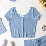 DUSTY BLUE RIBBED LETTUCE EDGE BUTTON UP - SET TOP