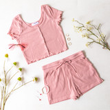 DUSTY ROSE RIBBED LETTUCE EDGE BUTTON UP - SET TOP