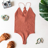 CLAY LACE BACK RIBBED BODYSUIT