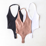 -Black -Halter -V-Neck -Open Back -Ribbe -Fabric Stretches -Thong -Hook and Eye Clasp -One Size Fits Most -Bodysuit  Material: 92% Nylon | 8% Spandex  353 BSUIT WHT
